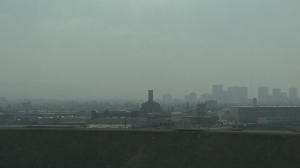 City sighted through smog