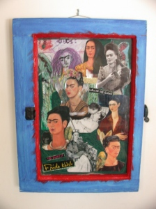 Blurry pic of the Wife's Frida Kahlo collage assembled inside an antique window